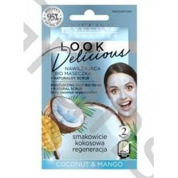 Eveline LOOK Delicious Moisturising Mask with Scrub  Coconut&Mango, 10ml